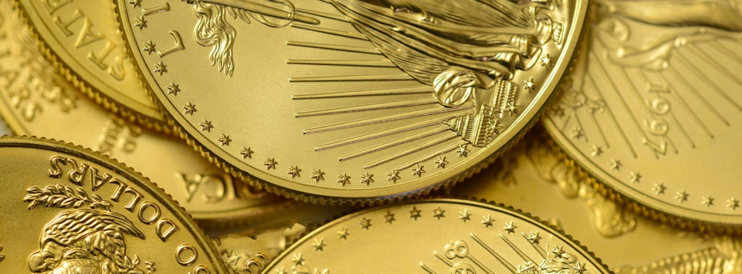 Gold coins, a rare precious metal to geologists and chemists and